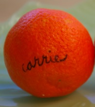 clementine with Carrie written on it